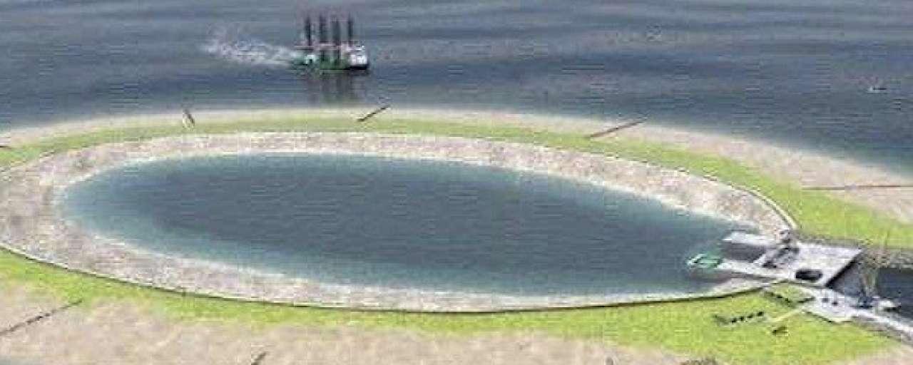 Kunstmatig eiland voor opslag groene energie