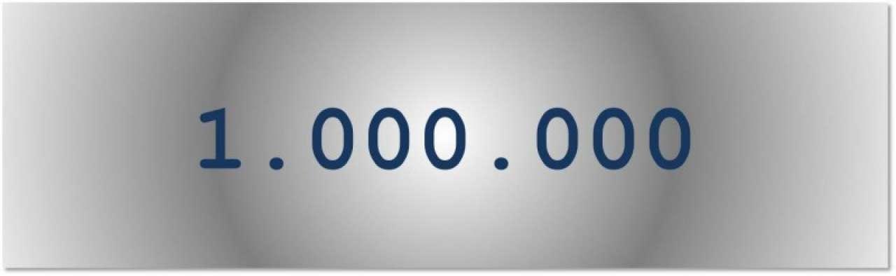 Getal van de dag: 1.000.000