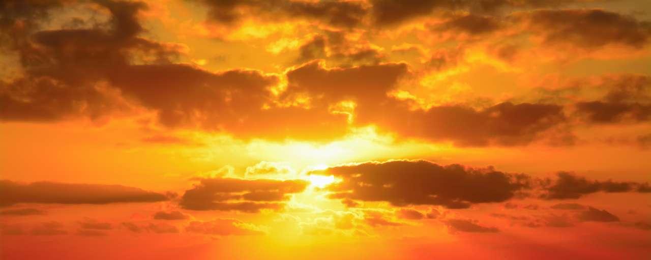 Zon, wolken, lucht, zonsondergang