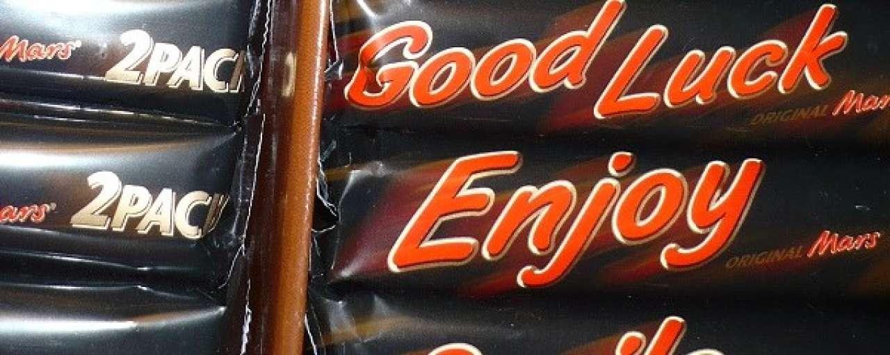 Mars verpakt chocola in aardappelzetmeel