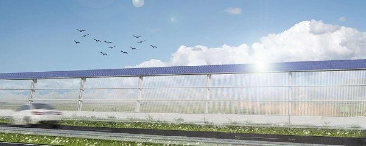 Robuust ontwerp voorgeluidsscherm met zonnepanelen